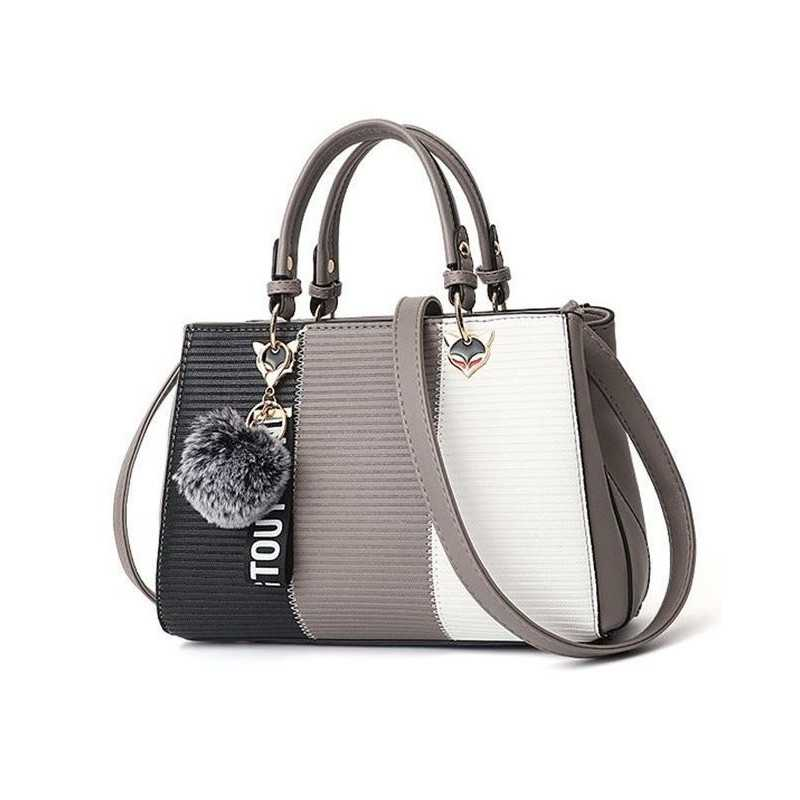 Barna, fekete, fehér divatos női táska