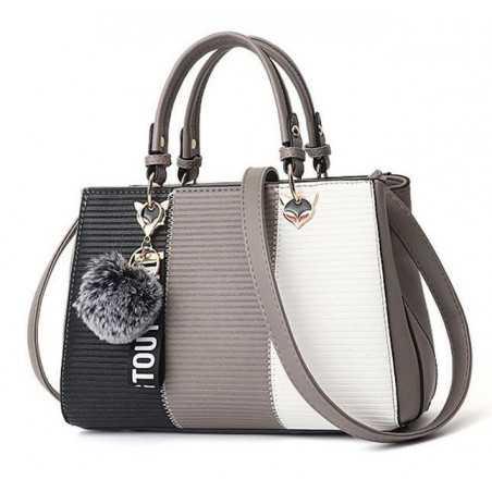 Fekete, szürke, fehér divatos női táska