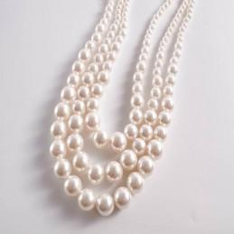 Fehér, gyöngyökkel díszített nyakék. 3 soros 00127ec