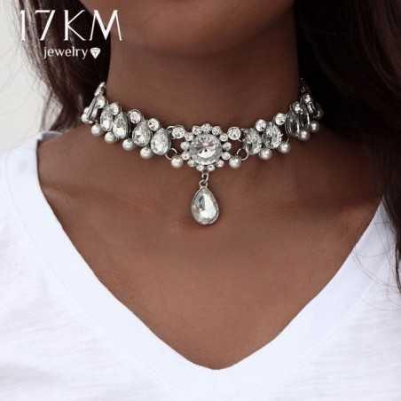 Csiszolt kövekkel, gyöngyökkel díszített nyaklánc. 00130-1ec