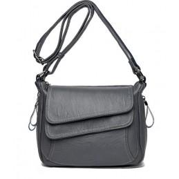 Szürke dupla mágneskapcsos női táska