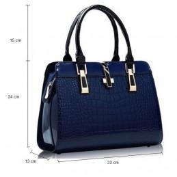 Merev falu kék, fényes lakk, női táska