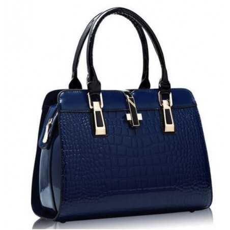 Kék, fényes lakk, női táska