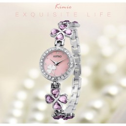 Kimio strasszos női karóra, rózsaszín számlappal és kövekkel. 423-4oc