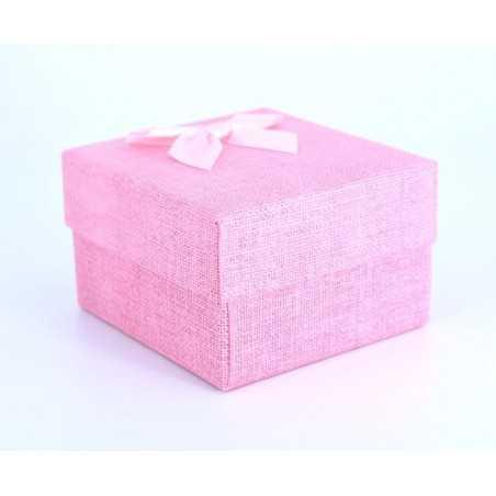 Szövet hatású papír óradoboz, párnával. Rózsaszín