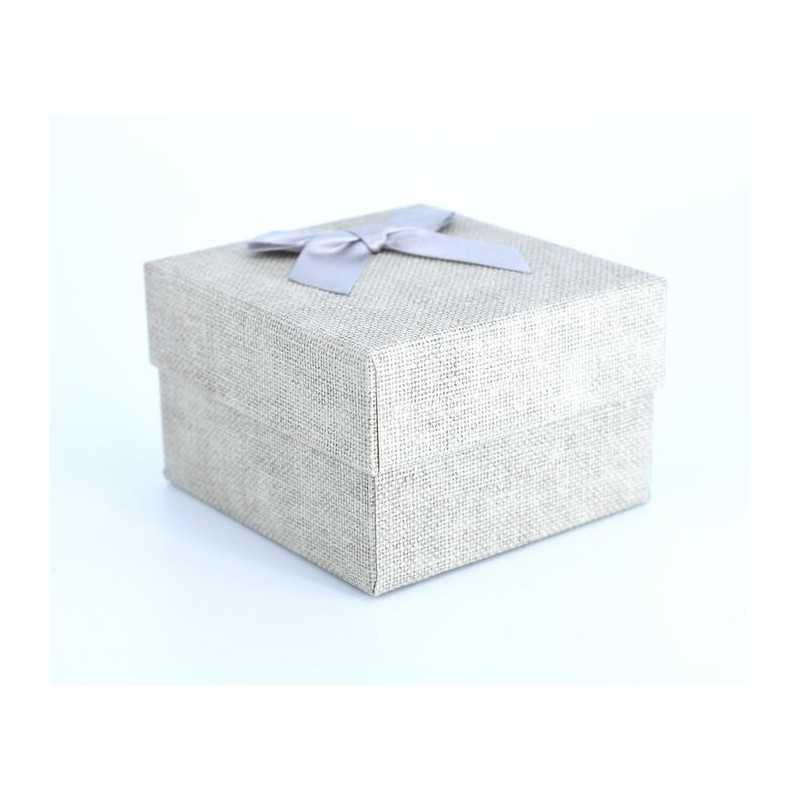Szövet hatású papír óradoboz, párnával. Homok szürke