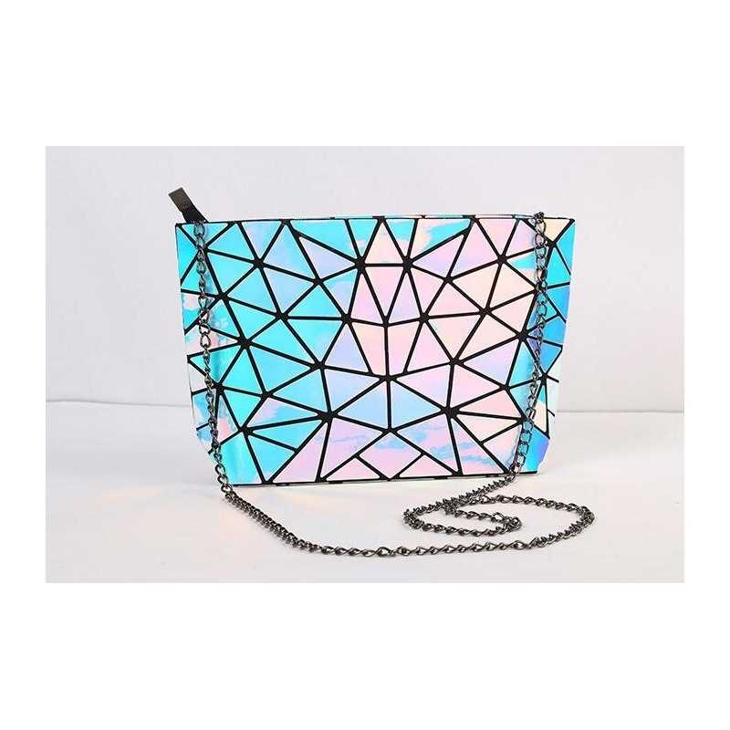 3D geometriai mintás, hologrammos női táska