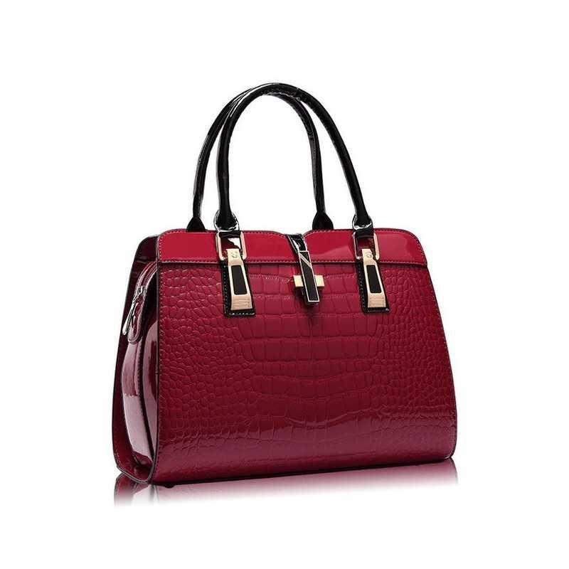 Bordó, fényes lakk, női táska