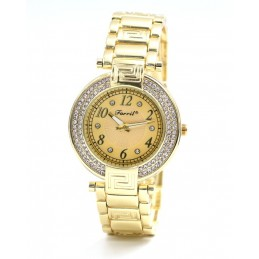 Arany színű strasszos női karóra arany számlappal. 377-1oc