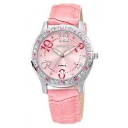 Női karóra rózsaszín bőr szíjjal, rózsaszín számlappal stasszokkal. 000018-1oc