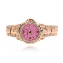 Rózsaarany színű strasszos női karóra rózsaszín számlappal. 450-1oc