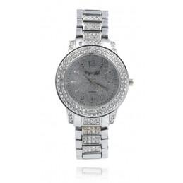 Ezüst színű strasszos női karóra ezüst számlappal. 446-1oc