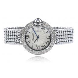 Ezüst színű strasszos női karóra ezüst számlappal. 451oc