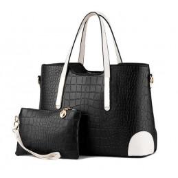 Divatos, fekete női táska, kivehető kistáskával.