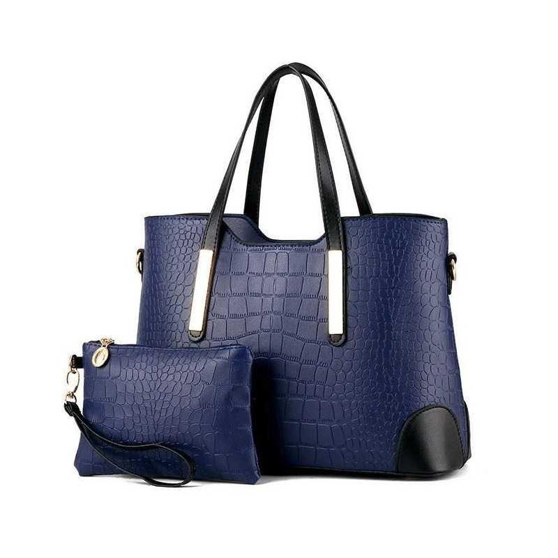 Divatos, sötétkék női táska, kivehető kistáskával.