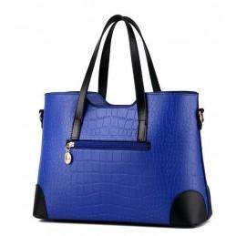 Divatos, kék női táska, kivehető kistáskával.