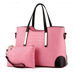 Divatos, rózsaszín női táska, kivehető kistáskával.
