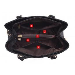 Fekete, varrott mintás női táska. 5027oc