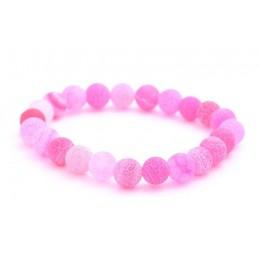 Ásvány karkötő, repesztett rózsaszín achát kristályokkal.