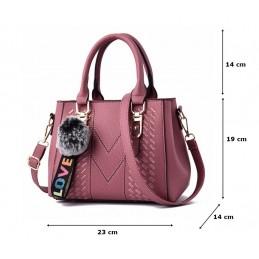 Sötét rózsaszín, varrott mintás női táska kistáska.