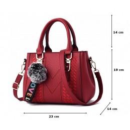 Piros, varrott mintás női táska, kistáska. 5028-4oc