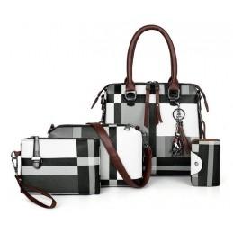 Divatos, fekete, szürke, fehér női táska szett. 5025-1oc