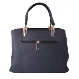 Fekete, varrott mintás női táska. 5031oc