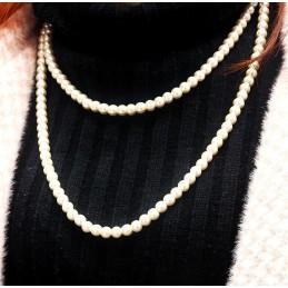 Fehér színű gyöngyökkel díszített hosszú nyaklánc. 0045-7ec