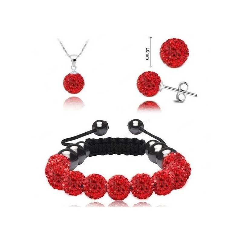 Swarovski kristályos szett. Nyaklánc, medál, karkötő, fülbevaló. Piros 113-7ec