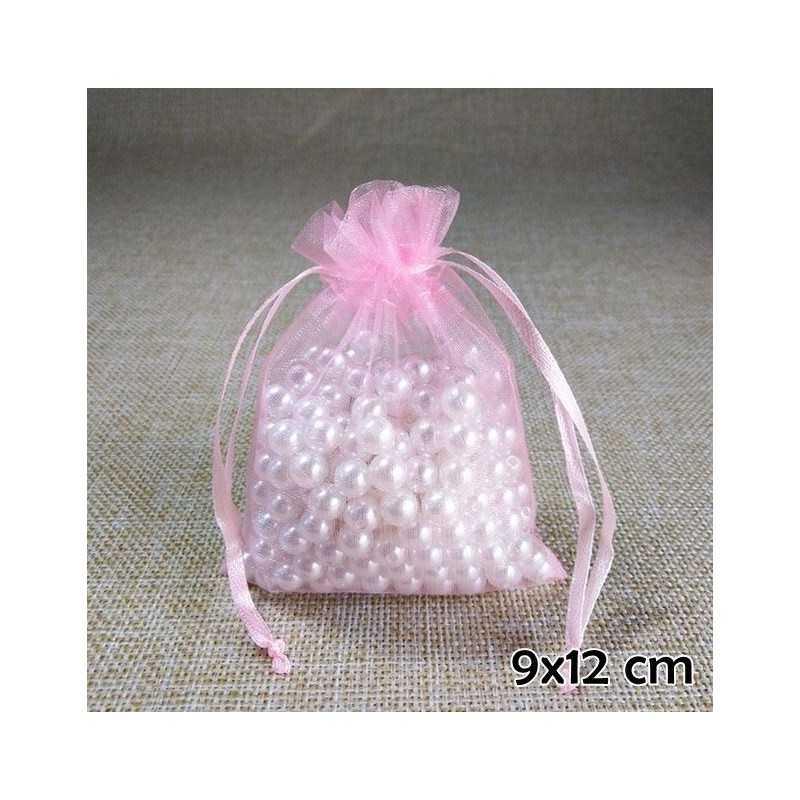 Rózsaszín organza ékszertasak. 710-9oc
