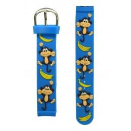 Kék gyermek karóra, kék számlappal. Majommal banánnal a szíján. 000144oc