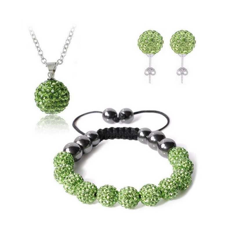 Swarovski kristályos szett. Nyaklánc, medál, karkötő, fülbevaló. Zöld 113-2ec