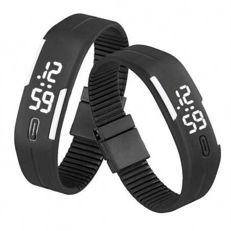 Szilikon szíjas mágnes kapcsos karkötő óra. Fekete - fehér 154oc