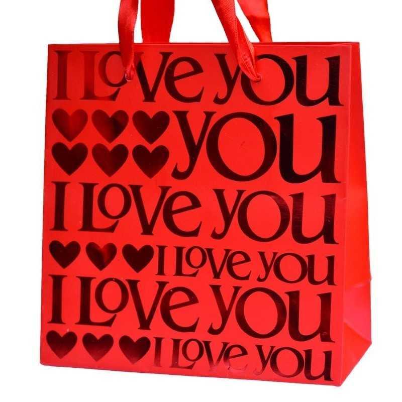 Papírtasak, papírtáska ajándékozáshoz, I Love You felirattal
