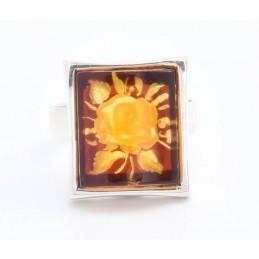 Ezüst gyűrű, borostyánba hátulról gravírozott rózsával