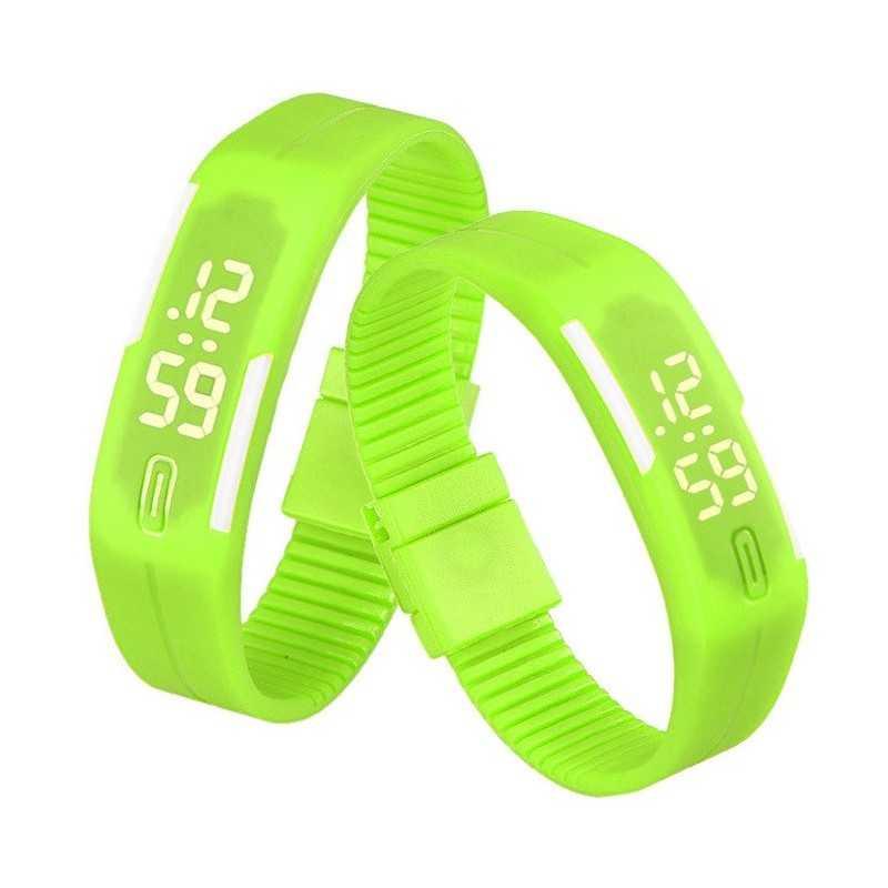 Szilikon szíjas mágnes kapcsos karkötő óra. Zöld - fehér 000156oc