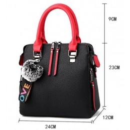 Három rekeszes, zsebes, cipzáros, fekete piros divatos női táska.