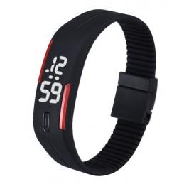 Szilikon szíjas mágnes kapcsos karkötő óra. Fekete - piros 000157oc