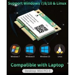PCI Express wifi notebook adapter 802.11a/b/g/n/ac, Bluetooth 4.2