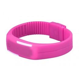 Szilikon szíjas mágnes kapcsos karkötő óra. Rózsaszín - fehér 000157oc