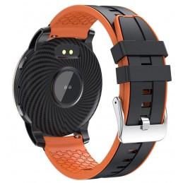 Fekete-narancs szilikon szíjas, pulzusmérős okosóra. 512oc