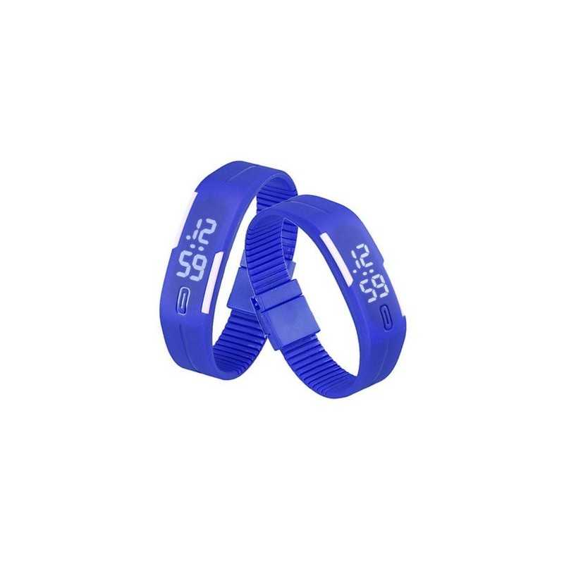 Szilikon szíjas mágnes kapcsos karkötő óra. Kék - fehér 000155oc