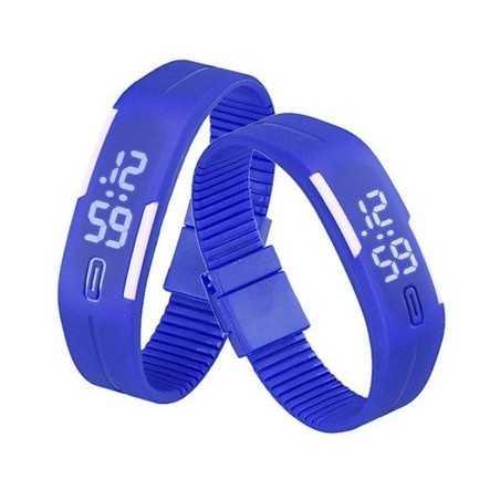 Szilikon szíjas mágnes kapcsos karkötő óra. Kék - fehér 155oc