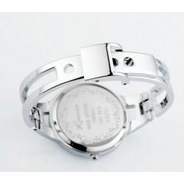 Női karperec óra, ezüst - piros számlappal, strasszokkal. 000160oc