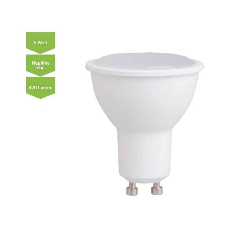 LED lámpa GU10 5 Watt SMD 420 Lm 120° opál DW Napfény fehér