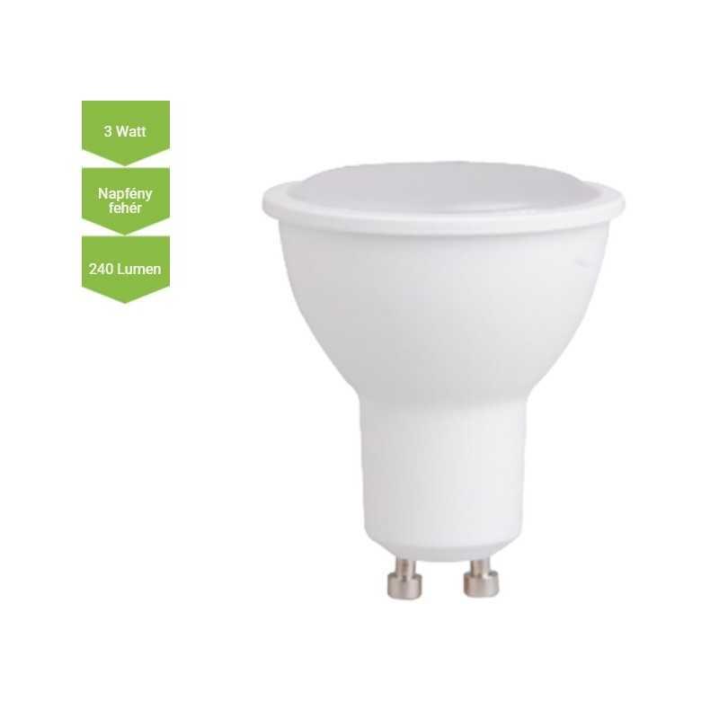 LED lámpa GU10 3 Watt SMD 240 Lm 120° opál DW Napfény fehér