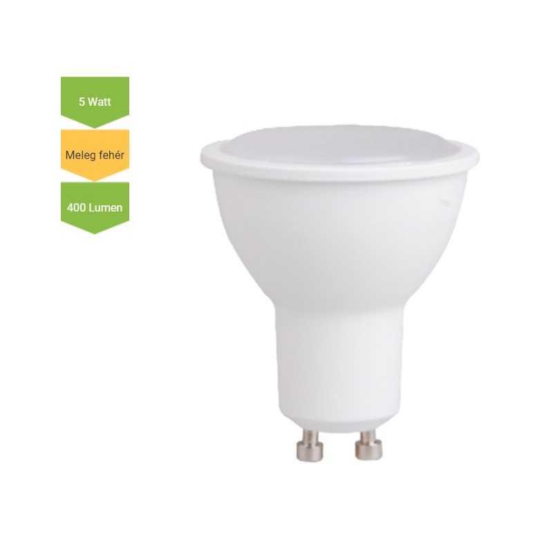 LED lámpa GU10 5 Watt SMD 400 Lm 120° opál WW Meleg fehér