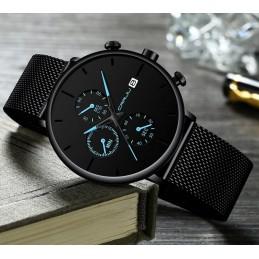 Velencei csatos fekete karóra, dátum kijelzéssel, Chronograph-al.