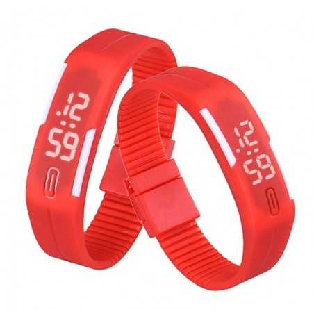 Szilikon szíjas mágnes kapcsos karkötő óra. Piros - fehér 157-1oc