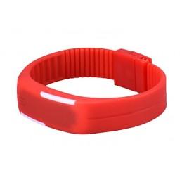 Szilikon szíjas mágnes kapcsos karkötő óra. Piros - fehér 000157-1oc